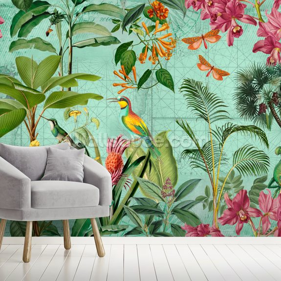 Tropical Paradise wallpaper mural room setting