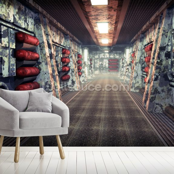 Spaceship corridor wallpaper mural room setting