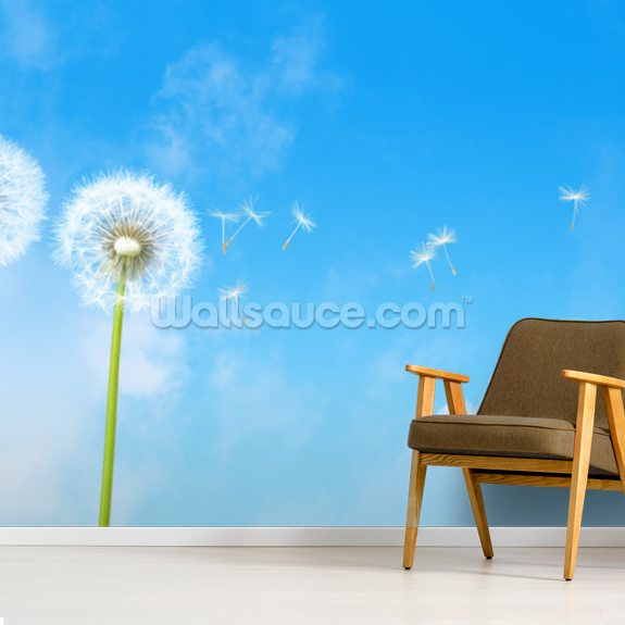 Dandelion Blue Sky wallpaper mural room setting