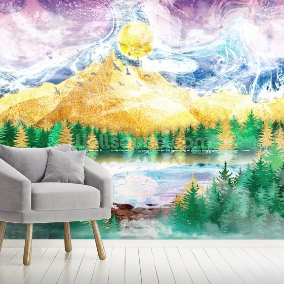 Beauty of Nature mural wallpaper room setting