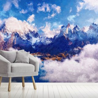 Cloudy Mountain Wallpaper Wall Murals