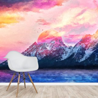 Dreamy Wyoming Mountains Wallpaper Wall Murals