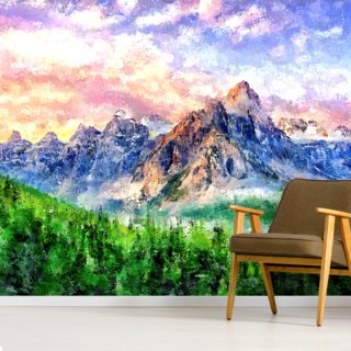Mountain on Lake Wallpaper Wall Murals