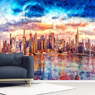 Starry Cityscape Wallpaper Wall Murals