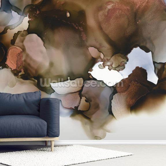 Brown Grey mural wallpaper room setting