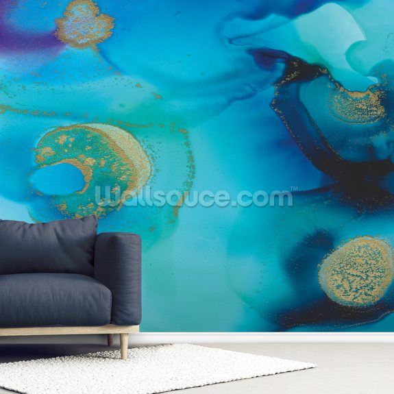 Deep Blue wall mural room setting