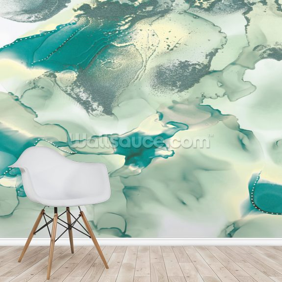 Green Mountains wallpaper mural room setting