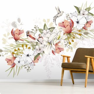 Finch Love Bird Wallpaper Wall Murals