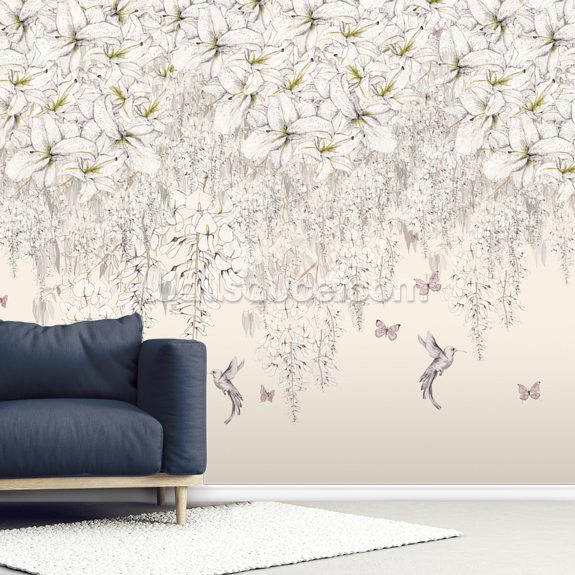 Sweet Lilies wall mural room setting