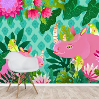 Pink Rhino Wallpaper Wall Murals