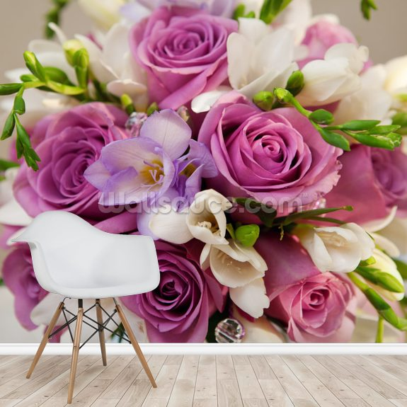 Purple Rose Bouquet wallpaper mural room setting
