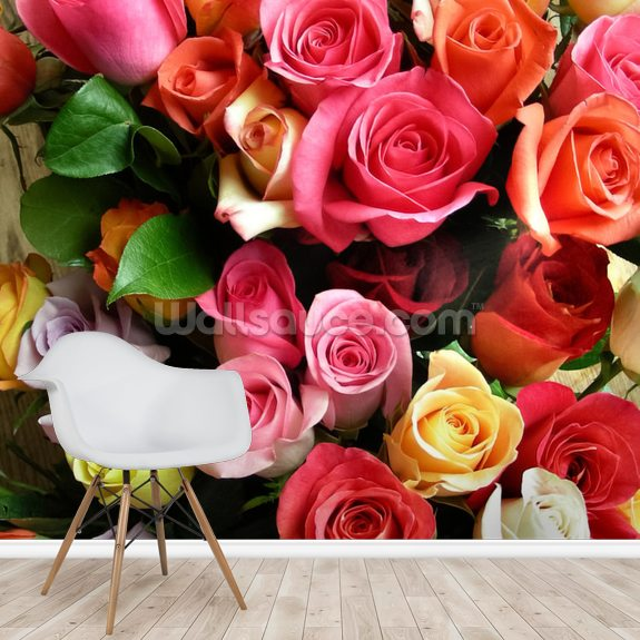 Roses wall mural room setting