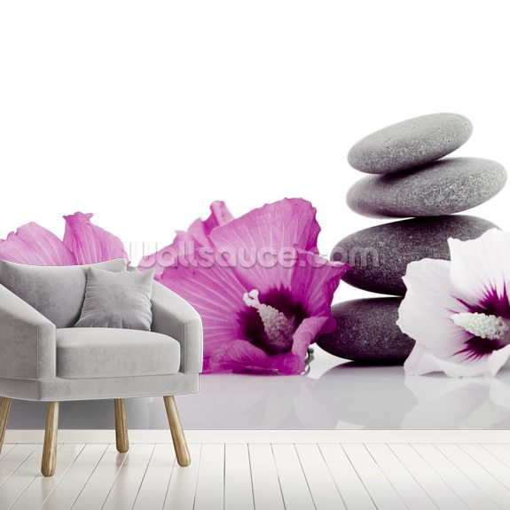Pebble with Hibiscus Flower wall mural room setting
