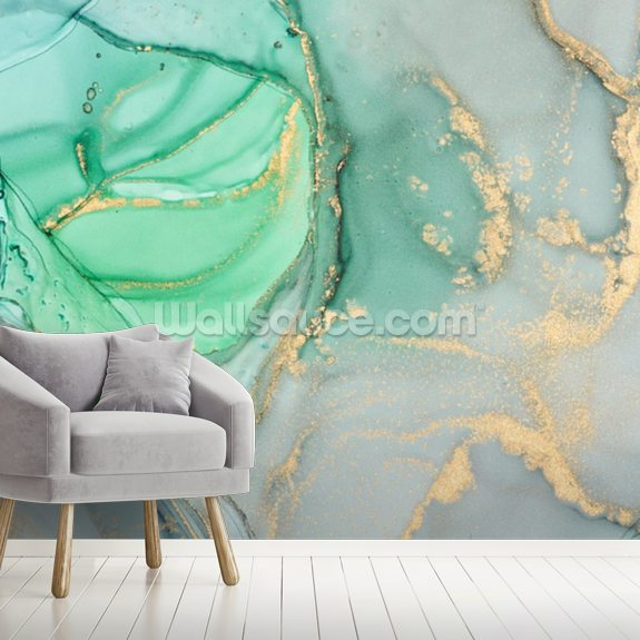 Clear Ocean Watercolour wallpaper mural room setting