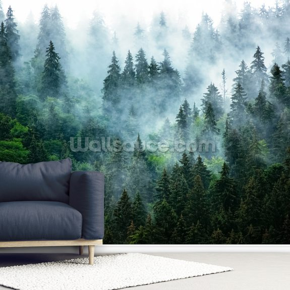 Misty Mountain Landscape wall mural room setting