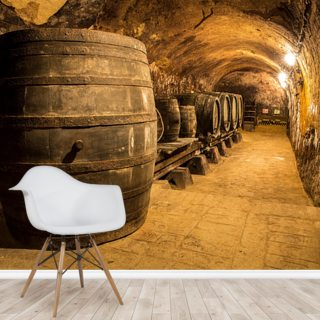 Old Wooden Barrels in the Wine Cellar