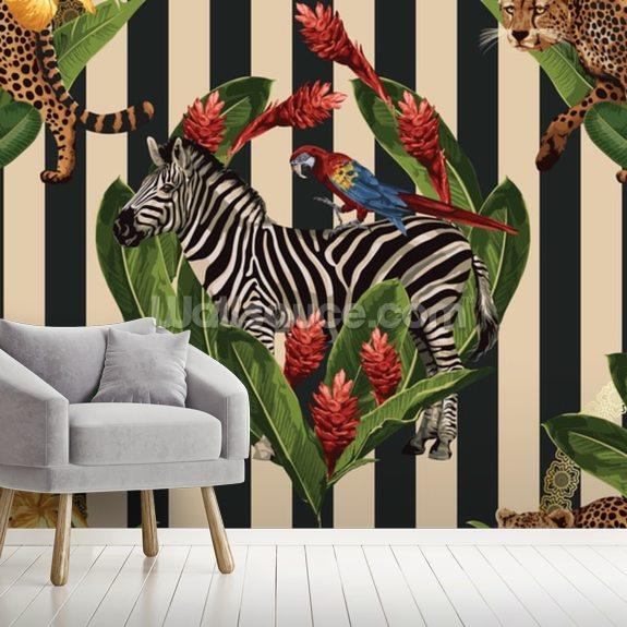 Vintage Tropical Summer wall mural room setting