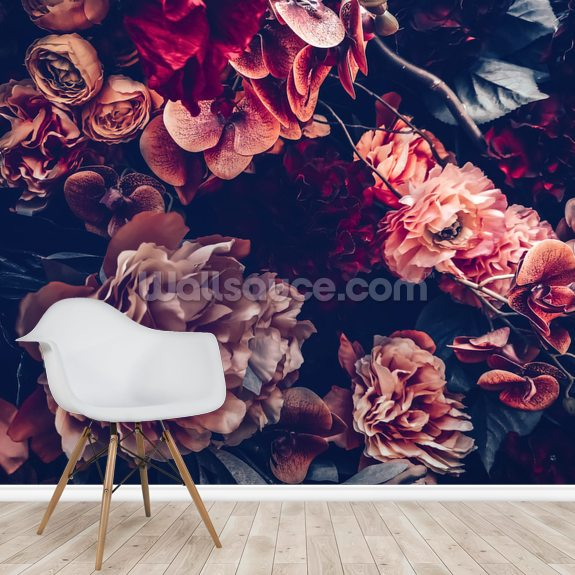Dark Vintage Floral wall mural room setting
