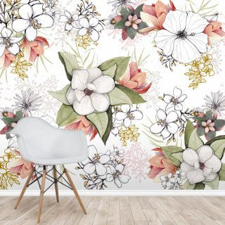 White Floral Burst Wallpaper Wall Murals