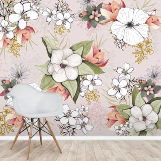 Pink Floral Burst Wallpaper Wall Murals