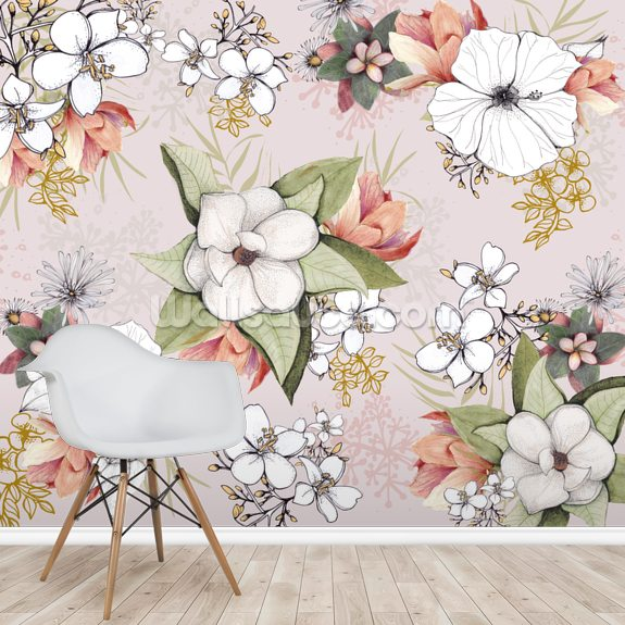 Pink Floral Burst wall mural room setting