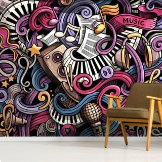 Instrument Illustration Wallpaper Wall Murals