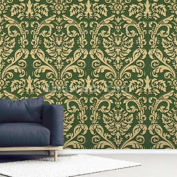 Green Damask Wallpaper Mural Wallsauce Us