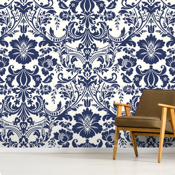 Blue Damask Pattern wallpaper mural room setting
