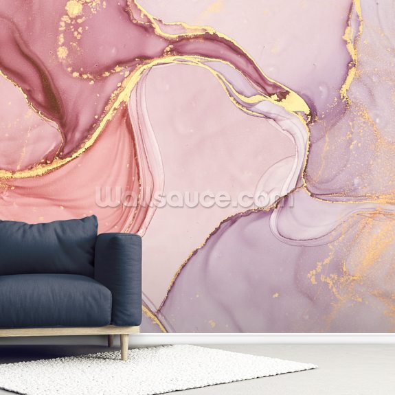 Pink and Gold Swirl wall mural room setting