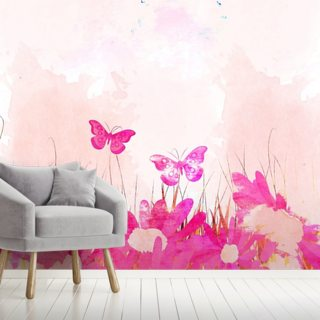 Pink Butterflies Wallpaper Wall Murals