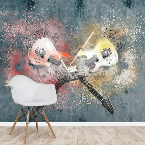 Graffiti Smashed Guitars wall mural room setting