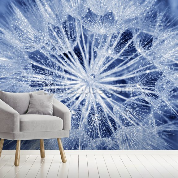 Soft Dandelion wall mural room setting