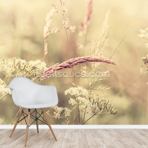 Summer Meadow - Sepia wall mural room setting