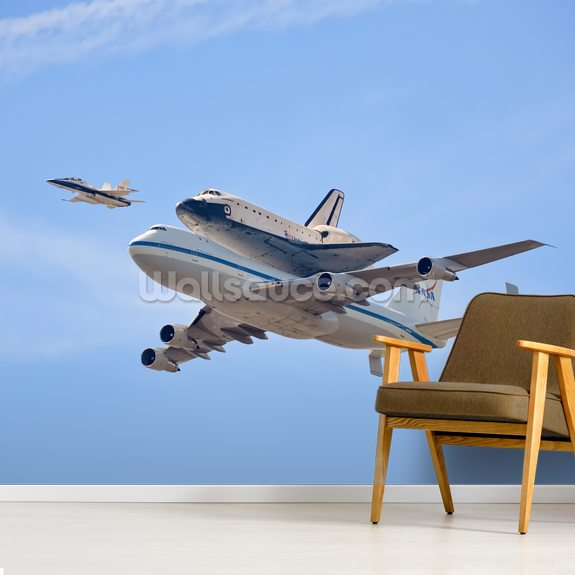 Flying in History - Space Shuttle wallpaper mural room setting