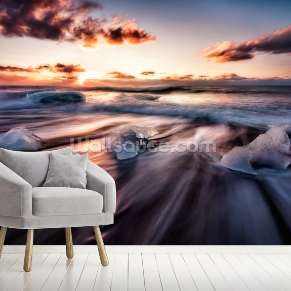 Jokulsarlon Diamonds mural wallpaper room setting