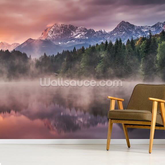 Sunrise at the Lake mural wallpaper room setting