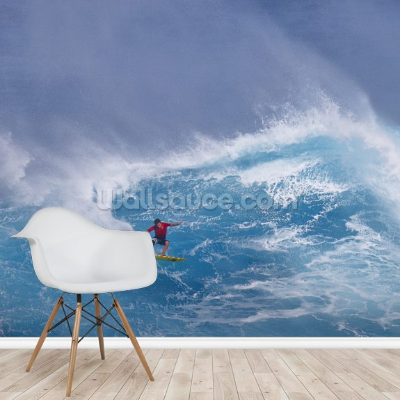 Surfing the Jaws wallpaper mural room setting