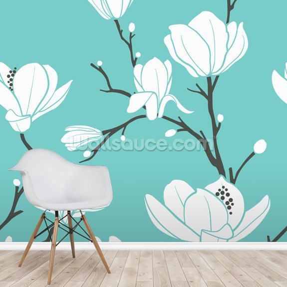 Magnolias on Blue mural wallpaper room setting