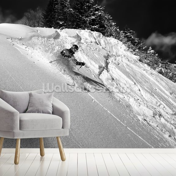 Skiing wallpaper mural room setting