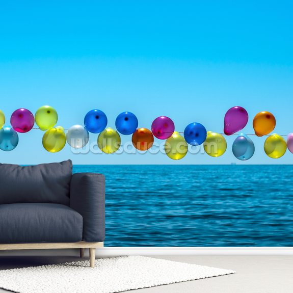 Balloons mural wallpaper room setting