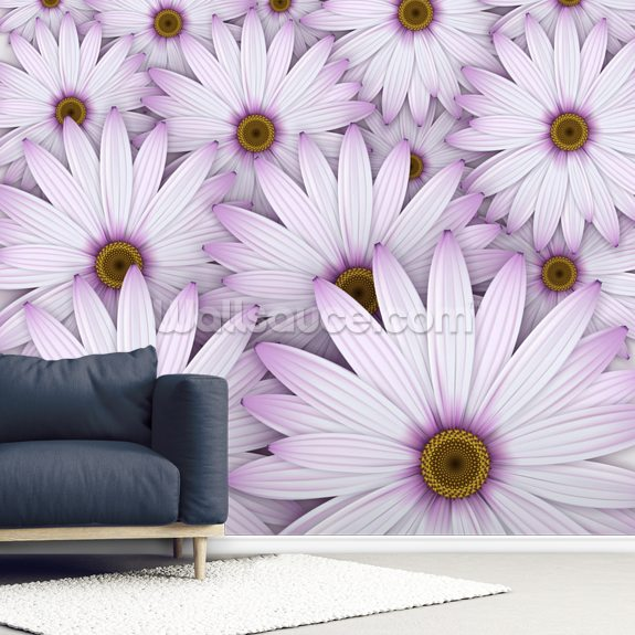 Field of Purple Daisies wall mural room setting