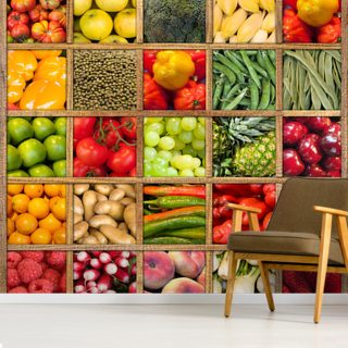 Fruit and Vegetable Collection Wallpaper Wall Murals