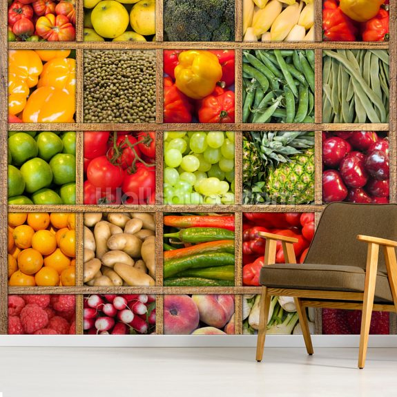 Fruit and Vegetable Collection wall mural room setting