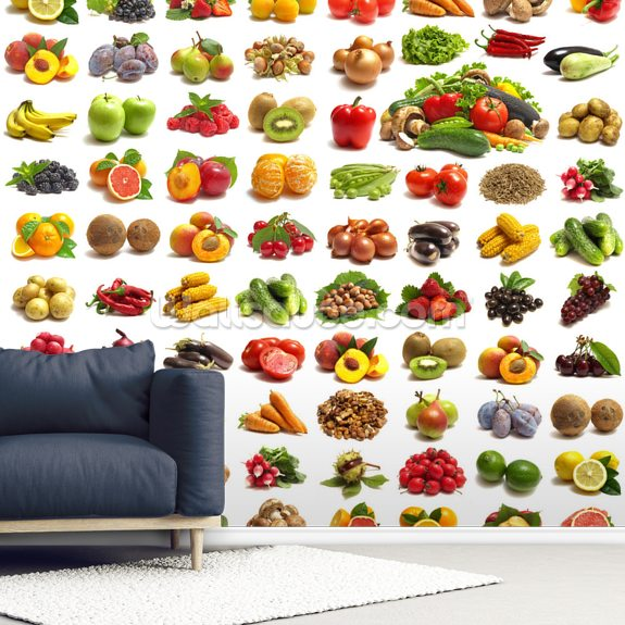 Fruit and Vegetables mural wallpaper room setting
