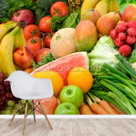 Vegetables and Fruits Arrangement wall mural room setting