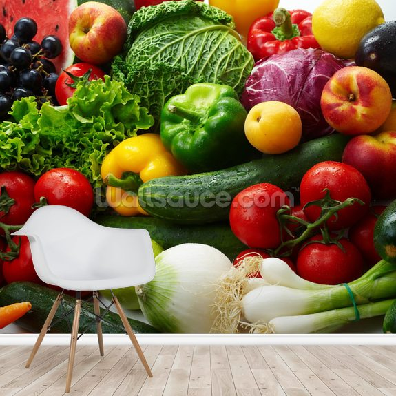 Fruit and Vegetable Assortment wallpaper mural room setting