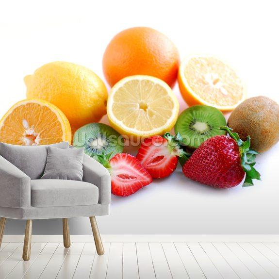 Assorted Fruit mural wallpaper room setting