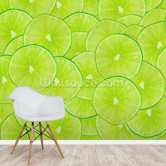 Limes mural wallpaper room setting