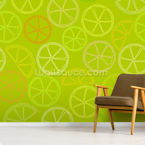 Citrus Pattern wall mural room setting