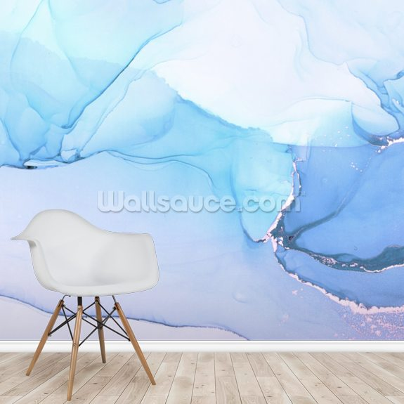Blue Waves Watercolour wall mural room setting